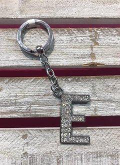 Silver Initial Rhinestone Keychain E
