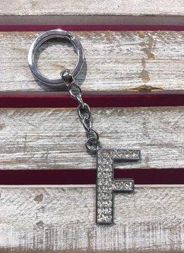 Silver Initial Rhinestone Keychain F