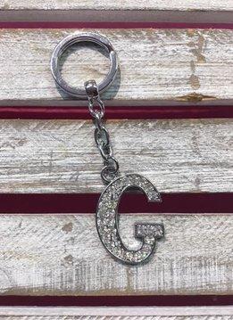 Silver Initial Rhinestone Keychain G