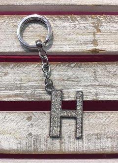 Silver Initial Rhinestone Keychain H