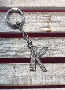 Silver Initial Rhinestone Keychain A