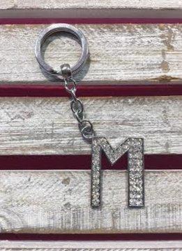 Silver Initial Rhinestone Keychain M