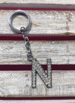 Silver Initial Rhinestone Keychain N