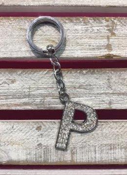 Silver Initial Rhinestone Keychain P