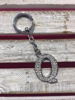 Silver Initial Rhinestone Keychain Q