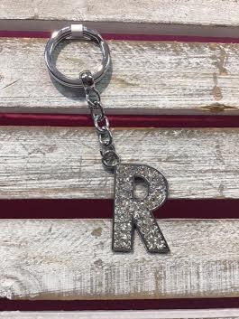 Silver Initial Rhinestone Keychain R