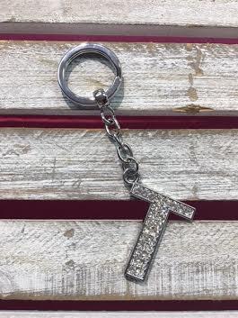 Silver Initial Rhinestone Keychain T