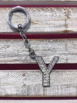 Silver Initial Rhinestone Keychain Y