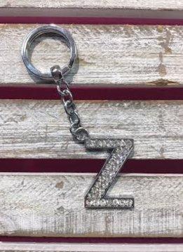 Silver Initial Rhinestone Keychain Z