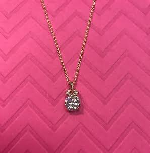 Gold Triple Cubic Zirconia Necklace Pendant