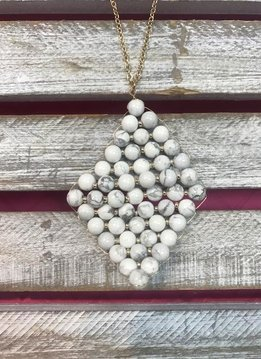 Semi Precious White Beaded Rhombus Pendant Necklace