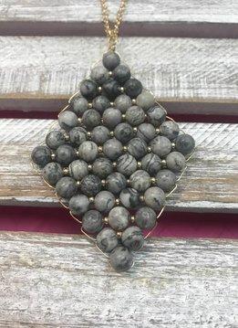Semi Precious Black Beaded Rhombus Pendant Necklace
