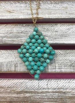 Semi Precious Turquoise Beaded Rhombus Pendant Necklace