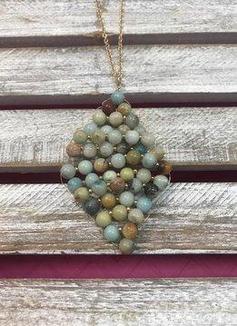 Semi Precious Mint Beads Rhombus Pendant Necklace