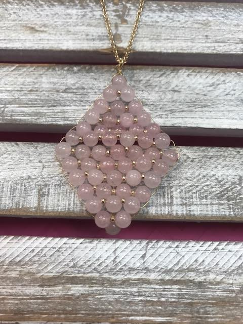 Semi Precious Rose Beads Rhombus Pendant Necklace