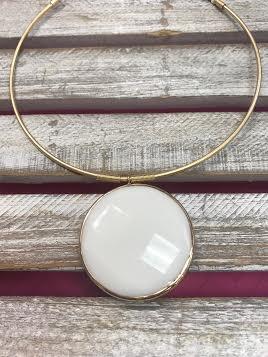 White Jumbo Semi Precious Collar Necklace