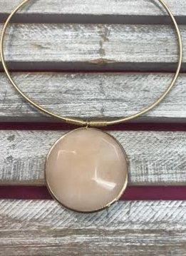 Jumbo Peach Semi Precious Collar Necklace
