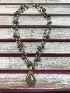 Khaki Mixed Beads and Semi Precious Teardrop Layer Necklace