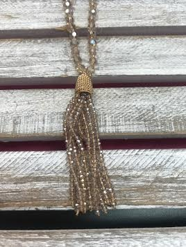 Champagne Beaded Tassel Necklace