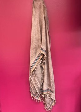 Boho Trim Lightweight Scarf in Rose