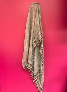 Boho Trim Lightweight Scarf in Gray