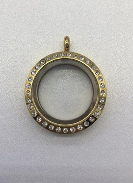 Gold 25mm Round Floating Charm Locket