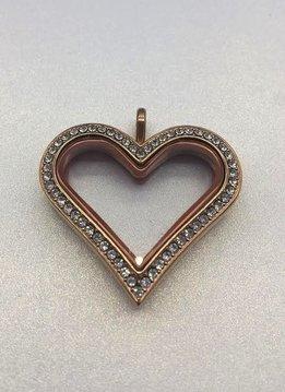 Rose Gold Floating Charm Heart Locket