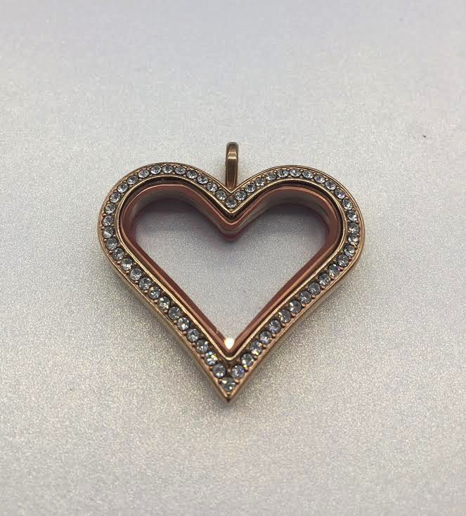 Rose Gold Floating Charm Heart Locket
