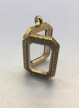 Gold Rectangle Floating Charm Locket