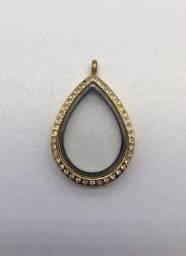 Gold Tear Drop Floating Charm Locket
