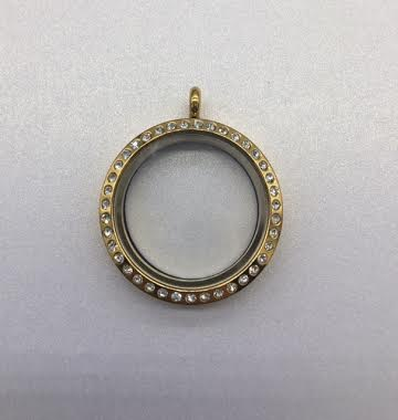 Gold 30mm Round Floating Charm Locket