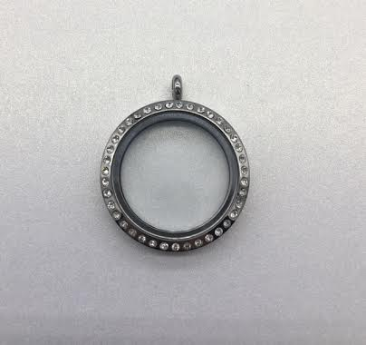 25mm Stainless Steel Locket with Crystals