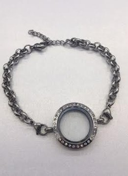 Silver Floating Charm Locket Bracelet with Rhinestones