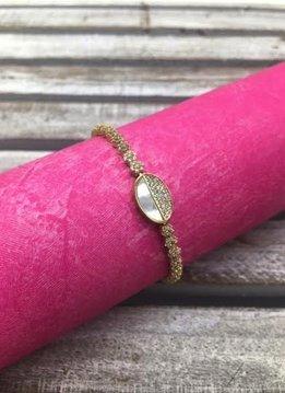 Golden Swarovski Crystal Sterling Silver Bracelet