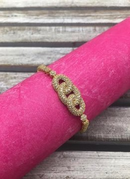 Sterling Silver Gold Plated Link Bracelet