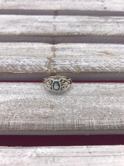 Sterling Silver Blue Topaz Celtic Scroll Ring