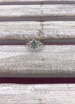 Sterling Silver Celtic Ring with Blue Topaz