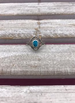 Sterling Silver Decorative Turquoise Ring