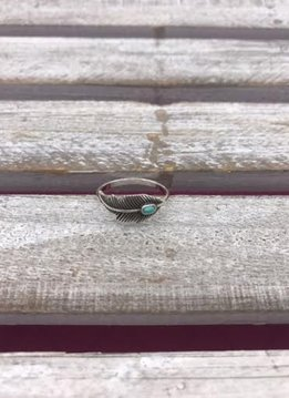 Sterling Silver Feather Ring with Turquoise Stone