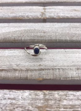 Sterling silver Cradled Oval Synthetic Sodalite Ring