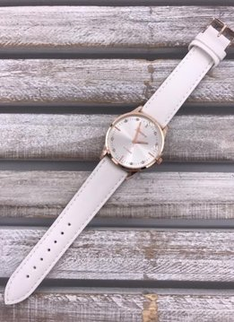 Rose Gold Faced Watch with White Band