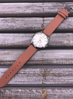 Silver Faced Watch with Rose Gold Hands