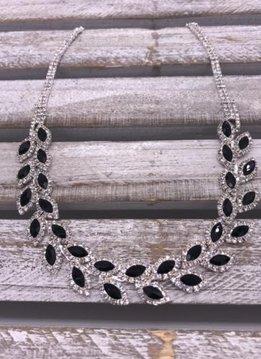 Silver Rhinestone Necklace with Leaf Pattern