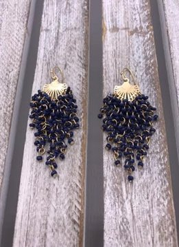 Gold and Navy Blue Seed Bead Dangle Earrings