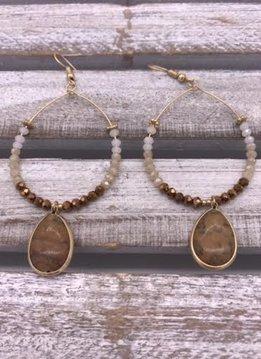 Brown Stone Dangling Circle Earrings