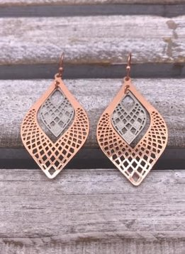 Two Toned Rose Gold and Silver Tear Dropped Layered Earring