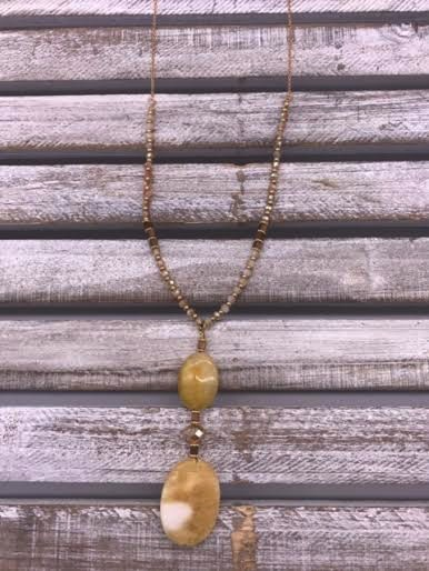 Long Gold Necklace with Natural Stone Pendant
