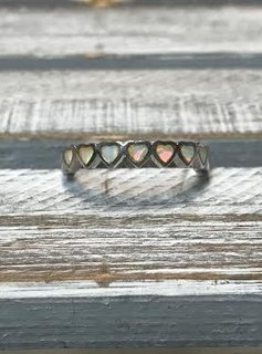 Sterling Silver Ring with White Opal Hearts