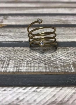 Sterling Silver Gold Platd Spiral Ring
