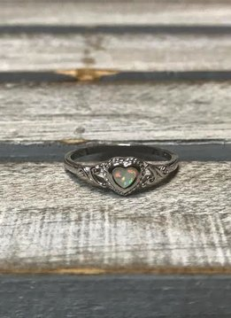 Sterling Silver Opal Heart Ring